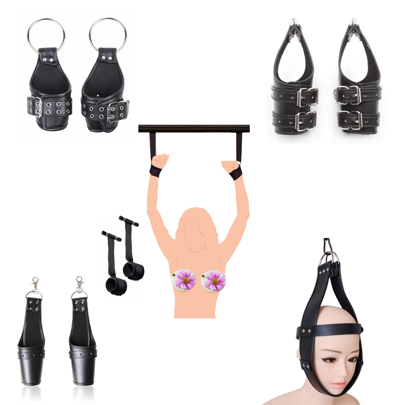 Door Hanging Swing Hand Wrist Cuffs/Suspension,Head Harness Mask Restraints Straps,PU Leather BDSM Bondage Restraint Sex Toys