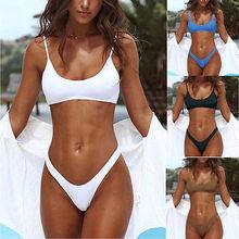 Women Swimwear Bandage Bikini 4 Colors Set Push-up Padded Bra Bathing Suit Swimsuit