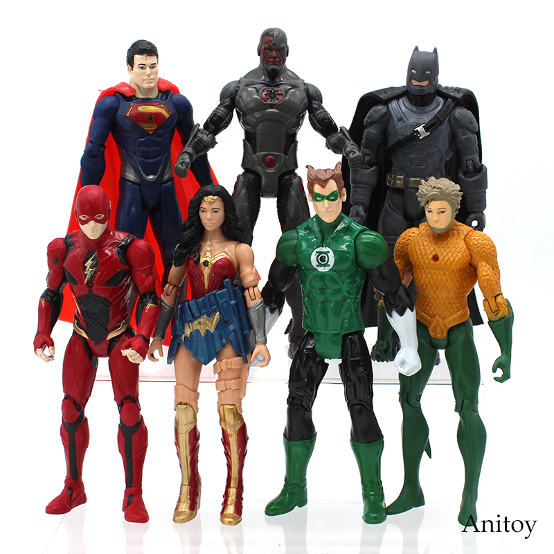 Justice League Aquaman Superman Wonder Woman The Flash Batman Green Super Hero PVC Figure Collectible Model Toy 2 Style 15-17cm