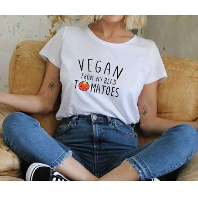 SexeMara VEGAN T-Shirt VEGAN FROM MY HEAD T-Shirt Tomatoes Cute Women Men' Unisex T-Shirt Vegetarian 18 New Design 17