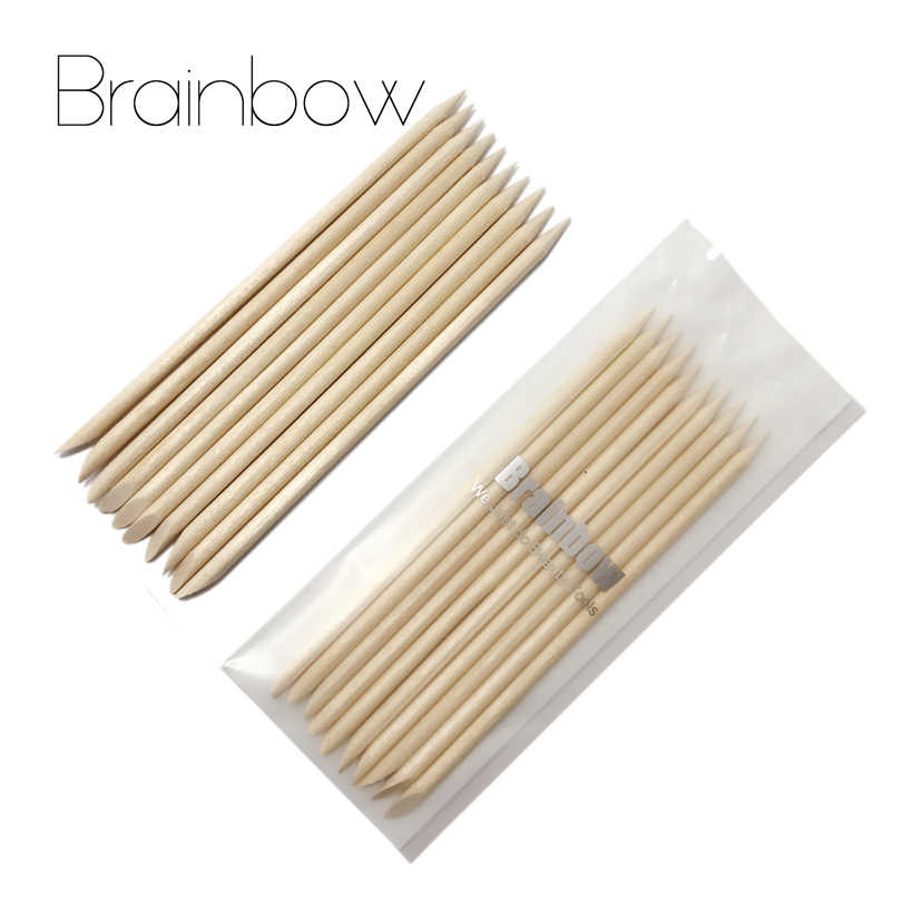 Brainbow 50pcs Nail Art Orange Wood Stick Cuticle Pusher Remover for Nail Art Care Manicures Angled Orange Sticks Nail Art Tools