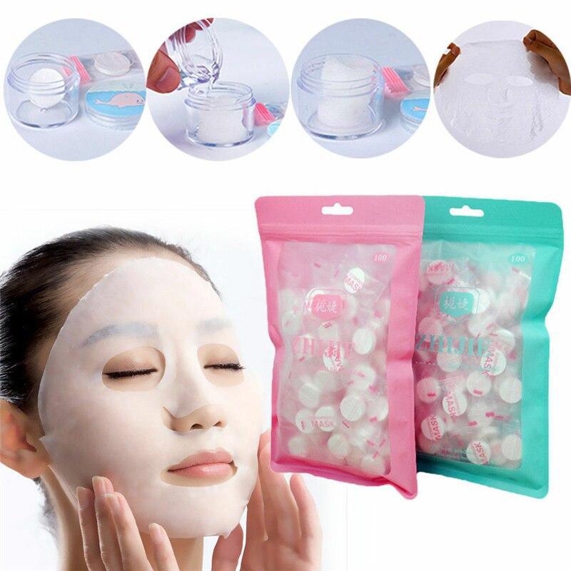 50/100pcs Compressed Cotton Face Mask Paper Disposable Facial Masks Papers Natural Skin Care Wrapped Masks DIY Makeup Face Tool