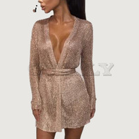 Cuerly sexy party shine knitted cardigan dress deep v neck bodycon rose gold dress spring bow wrap very mini short dress L5