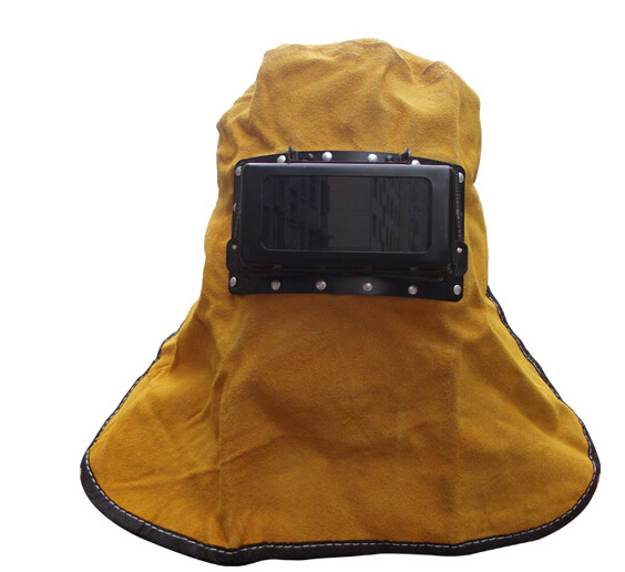 ФОТО Protective Welding Mask Cowleather Fabric with Safety Glass Against Sparks slag Dust  Size M0401