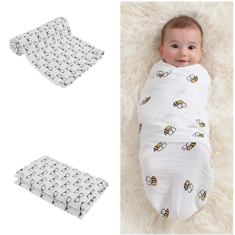 Muslin Cotton Baby Swaddle Newborn Hold Wrap Envelope Infant Swaddling Bed Quilt Soft Baby Blanket Cartoon Gauze Kids Bath Towel