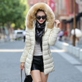 2016 novo casaco de inverno Meninas jaqueta de grandes estaleiros longa gola de pele de espessura Slim Down jaqueta acolchoada