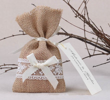 50pcs Lot Rustic Vintage Style Burlap Hessian Lace Wedding Favour Bags With Ribbon