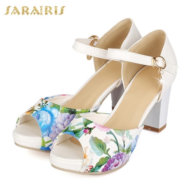 a747f3236c SARAIRIS Women's Dropship Chunky High Heel Summer Shoes Woman Open Toe  Ankle Strap Platform Sandals Large Sizes 33-43