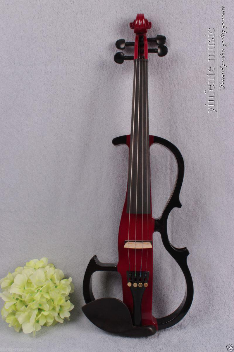 Electric violin 4/4 Powerful Sound silent ebony parts high quality red #1382 4 4 electric cello 4 string silent powerful sound ebony part top grade you can choose color i can make for you