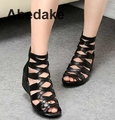 2016 summer Fashion  sandals genuine leather soft outsole comfortable open toe wedges mother shoes flat sandals