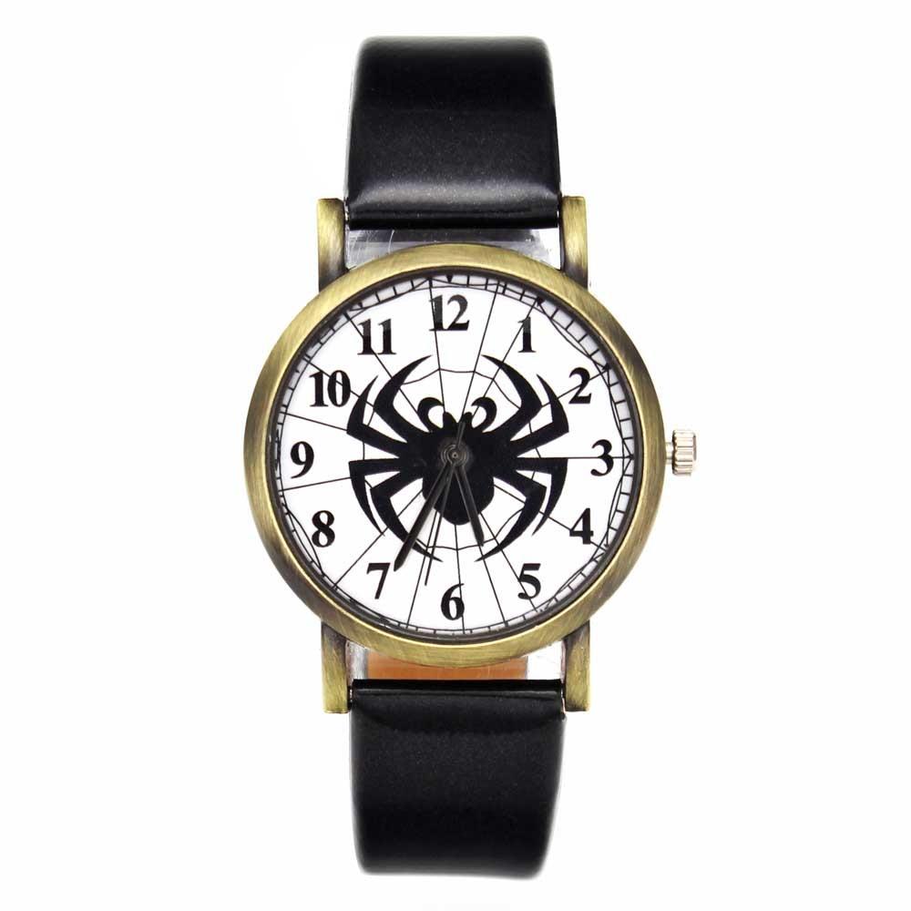 Black Spider Web Hombres Mujeres Relojes de Cuarzo PU Banda de Cuero - Relojes para hombres - foto 2