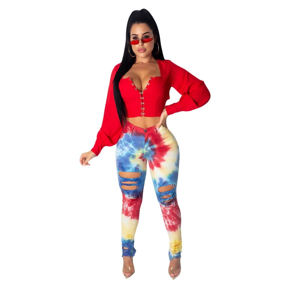 2019 women new summer hole skinny pencil classic tie dye galaxy print   jeans   fashion bodycon denim long pants trousers