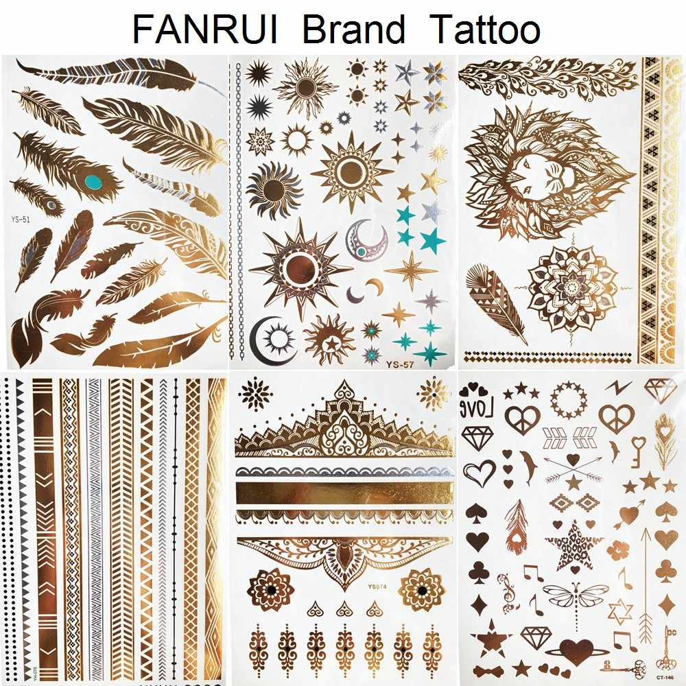 Sexy Zon Maan Ster Tijdelijke Tattoo Vrouwen Party Body Arm Art Fake Flash Tatoos Gold Metallic Tattoo Stickers Meisje Armband pols