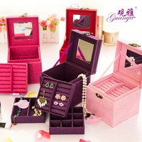 Han Edition Of Rabbit Hair Three Layers Jewelry Box Jewelry Box Store Content Box Four Color