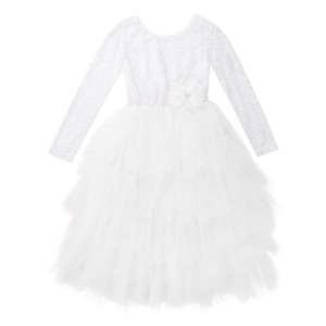 Image 3 - Kids Girls Lace Long Sleeves V shaped Back Tulle Tutu Flower Girl Dress for Wedding Pageant Birthday Party Princess Dress