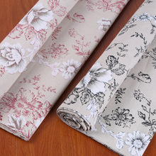 Peony printed cotton and linen fabric by meter DIY sofa pillow window curtain for household decoration