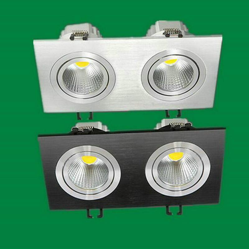 6PCS Square LED Downlight 2X7w AC110V AC220V COB LED stropní zapuštěný plafond teplý studený bílý LED bodové světlo vnitřní světlo
