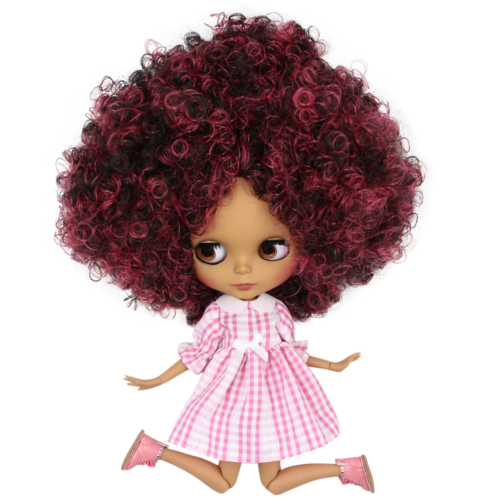 ICY Nude Blyth Doll No QE155 9103 Wine red mix Black Afro hair Black Matte face