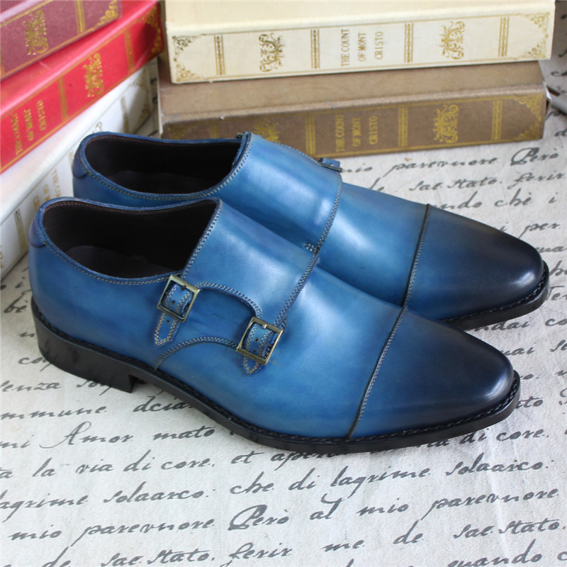 Bespoke Goodyear Welted Blue Genuine Leather Double Buckles Monk - Zapatos de hombre - foto 6