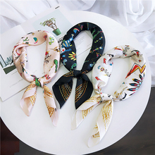 New Crinkle Silk Bandana Flower Print Foulard for Women Square Wrinkle Scarf Small Crumple Neck Decoration Headband NEW