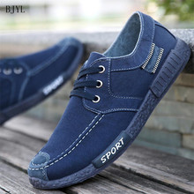 BJYL 2019 Spring Summer Men Washed Canvas Shoes Lace Up Leisure Soft Vulcanize Male Footwear Flat Casual B107