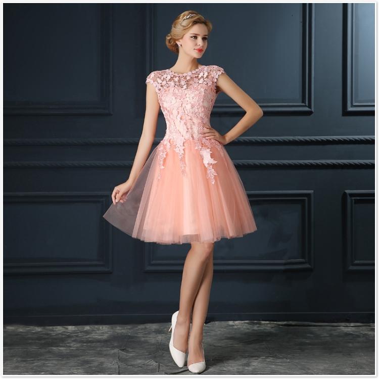Robe De Soiree 2017 gery u collar Lace Up short evening dress abendkleider vestito da sera prom dresses party dresses 4 colors 12