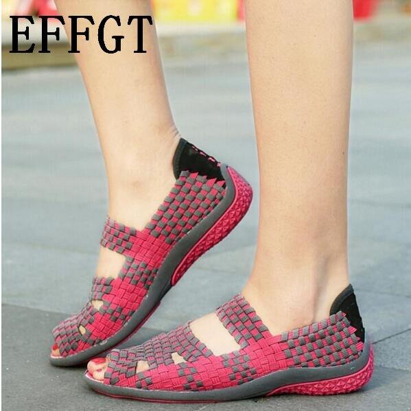 Effgt New Summer Women Flat Sandals Shoes Women Woven -1861