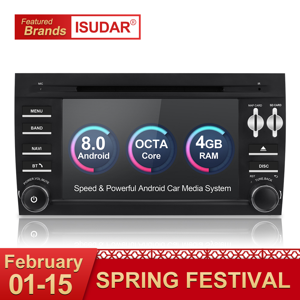 Isudar Автомагнитола 2 Din с 7 Дюймовым Экраном на Android 8.0 Для Автомобилей Porsche/Cayenne OBD2 С Встроенным Микрофоном Bluetooth USB DVR DAB Wifi