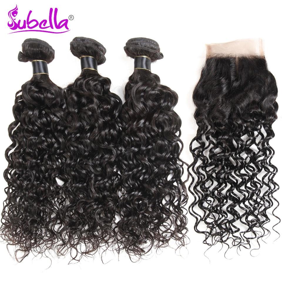 Subella Hair Peruvian Hair Weave Bundles With Closure 3 Bundles With Lace Closure Human Hair Water Wave Bundles With Closure