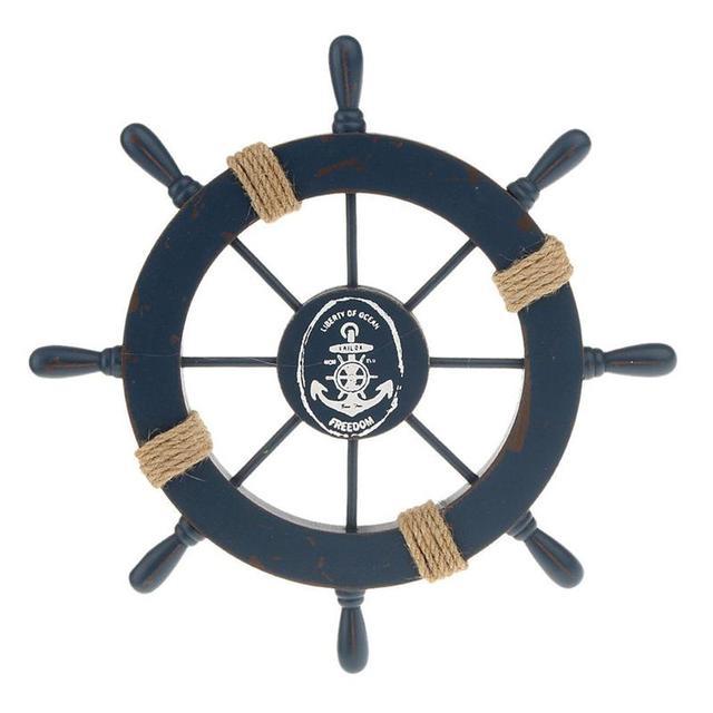 28 CM madera estilo mediterráneo barco timón accesorio hogar pared colgante Decoración