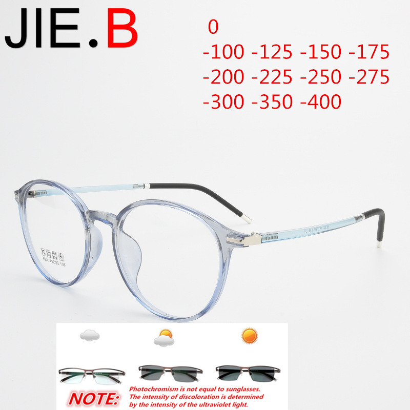 Ultra light retro round tr90 glasses frame men and women myopia glasses, photochromic finished