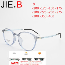 Ultra light retro round tr90 glasses frame men and women myopia glasses, photochromic finished