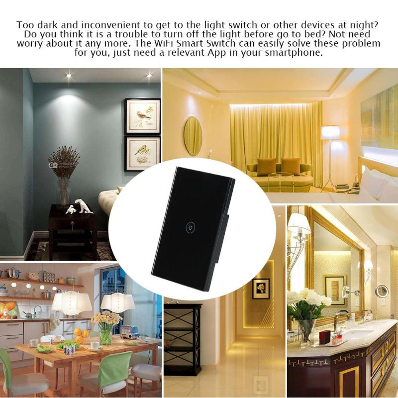 US $24 68 13% OFF|US WiFi Smart Switch Wireless Light Wall Switch 1 Gang  Crystal Touch Panel APP Work with Amazon Alexa Google Home IFTTT Timing-in
