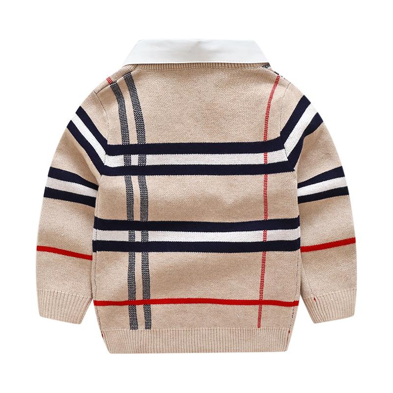 HTB1.BdbaiDxK1RjSsphq6zHrpXaV - 2018 Autumn Boys Sweater Plaid Children Knitwear Boys Cotton Pullover Dual Collar Sweater Kids Fashion Outerwear Toddler