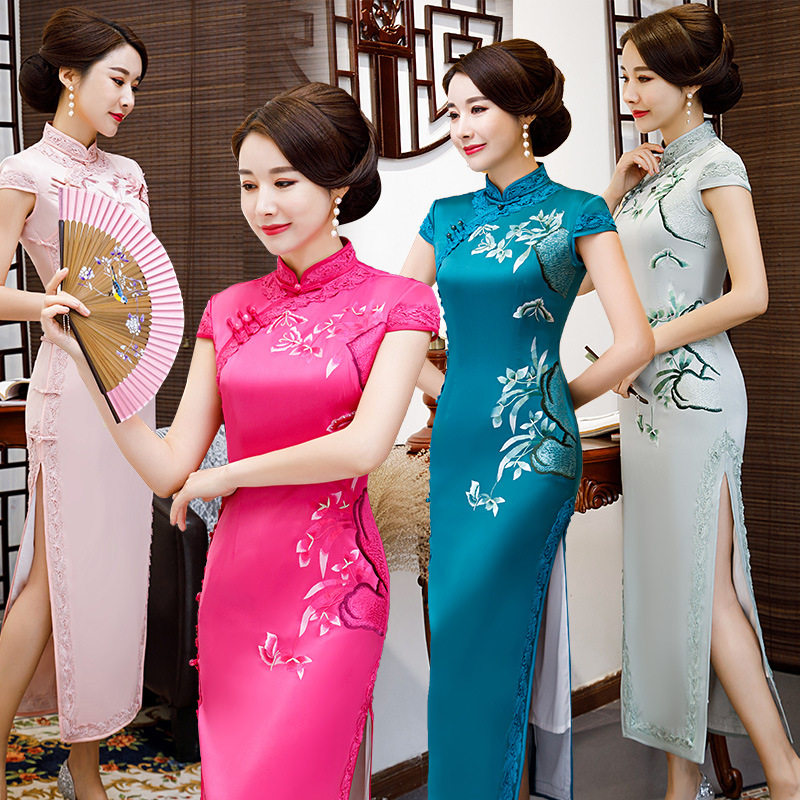 New Arrival Chinese Women s Elegant Qipao Classic Silm Embroidery Dress Cheongsam Sexy Dress Clothing Plus