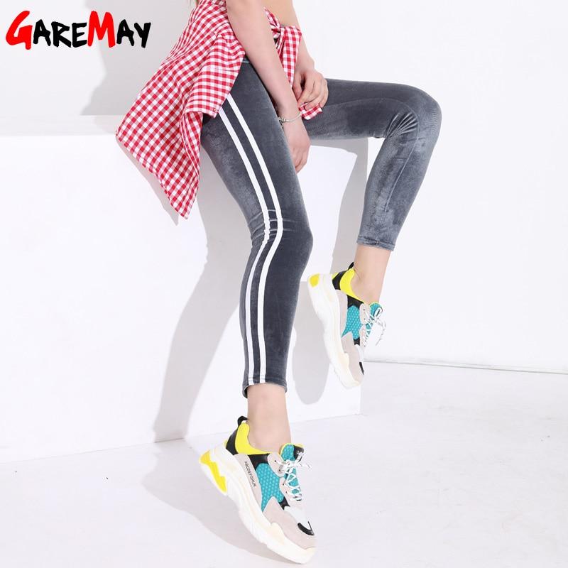 Legging Bergaris Wanita Slim Kasual Berpinggang Tinggi Wanita Beludru Legging Putih Peregangan Celana Pensil Leggins Legging Femme Legging Aliexpress