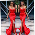Sexy Red Mermaid Long Evening Dress Sweetheart Sleeveless Floor Length High Slit Backless Long Prom Dresses 2015 Robe De Soiree