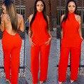 Летом стиль женщины комбинезон новый длинные брюки комбинезоны без спинки плюс размер красные габаритные женщины