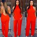 Estilo do verão mulheres jumpsuit Marca novas calças compridas macacões sem encosto plus size vermelho das mulheres em geral