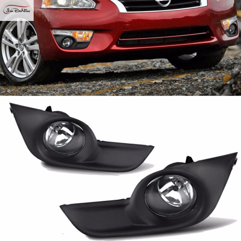 JanDeNing Car Fog Lights  For Nissan Altima 2013-2015 Sedan  Clear Front Bumper Fog Lamp Replace Assembly kit(one Pair) pair car 55w h11 front bumper driving fog light lamp for audi a4 b6 sedan 02 05 03 04