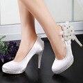 EP11127-PF Branco Festa de Noite Das Mulheres Bombas Peep Toe Rhinestone Plataforma de Pérolas Sapatos de Cetim Nupcial Do Casamento
