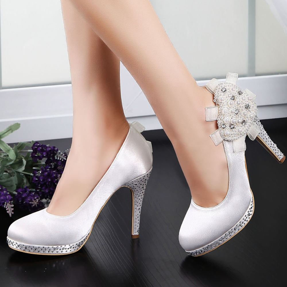 ФОТО EP11127-PF White Women Evening Party Pumps Peep Toe Rhinestone Pearls Platform Satin Wedding Bridal Shoes