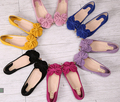 2015 moda zapatos mujer mujeres del arco solos zapatos inferior suave del bowknot de trabajo de ballet pisos zapatos de mujer mocasines tamaño grande 34-42