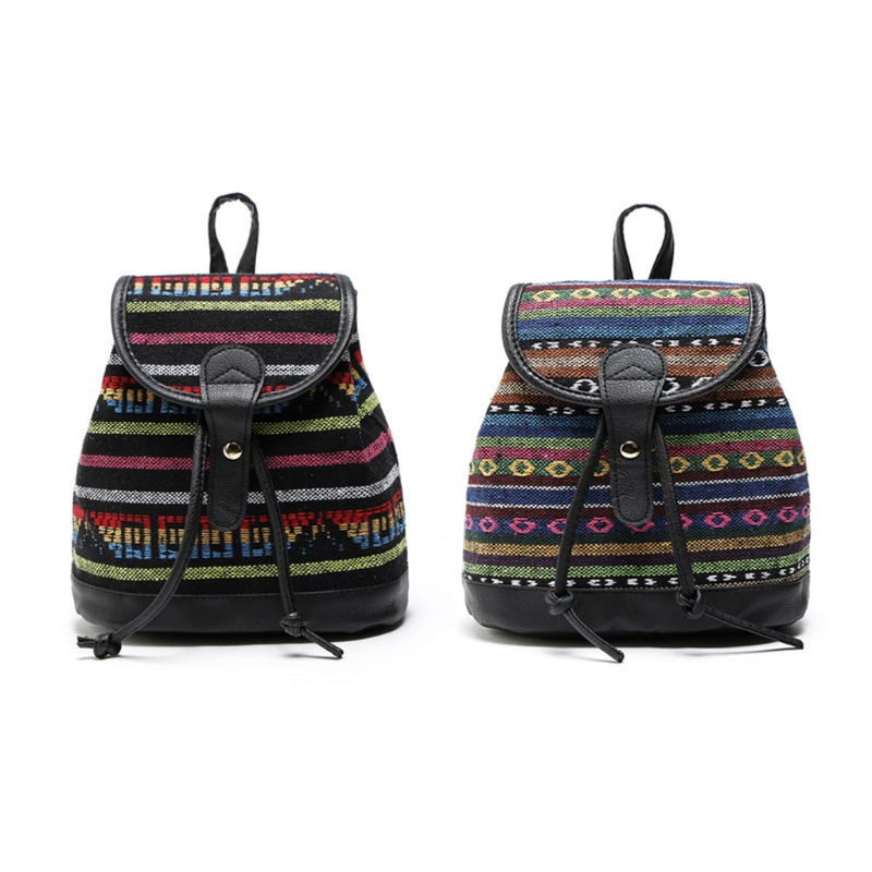Women's Shoulder Bag Messenger Rucksack Weave Canvas Backpack National Backpack For Women