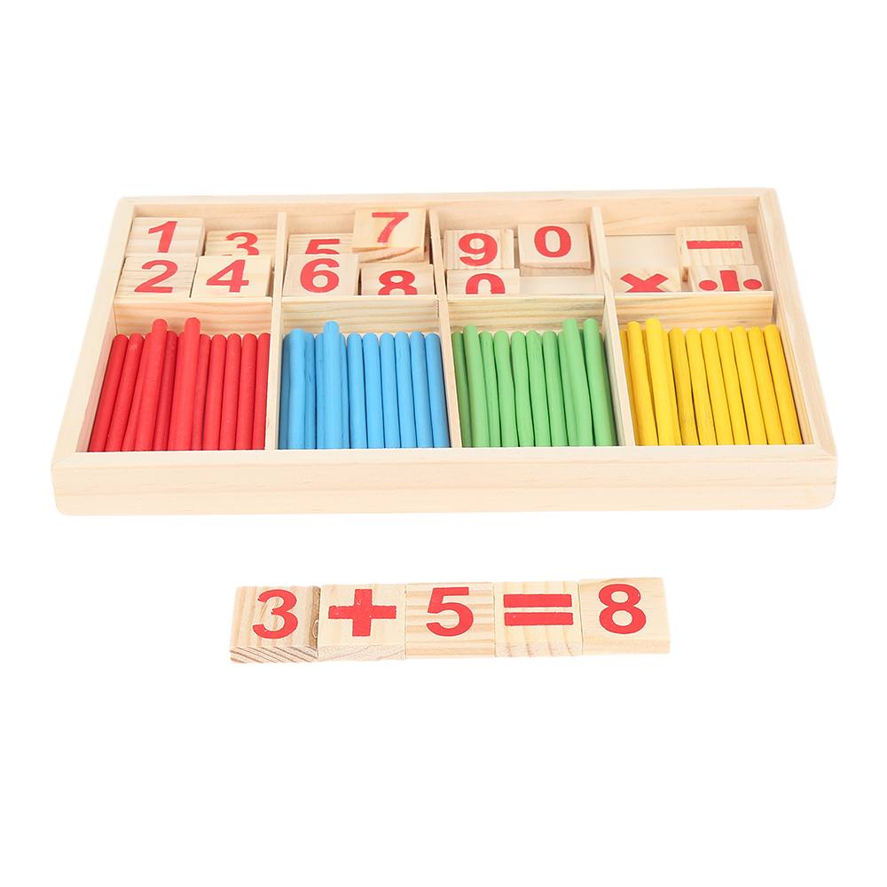 2019 New Colorful Wooden Counting Sticks Mathematics Montessori Teaching Aids Counting Rod Kids Preschool Math Learning Toys