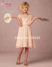 Cute A-line Scoop Half Sleeves Knee-length Lace Flower Girl Dresses for Wedding Party Birthday Flowers Prom Dress Children e05