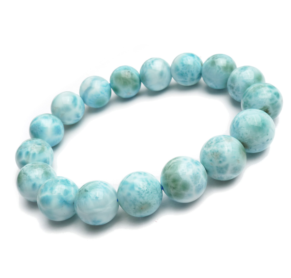 Natural Blue Larimar Gemstone Round Beads 12mm Bracelet Stretch From Dominica AAAAAANatural Blue Larimar Gemstone Round Beads 12mm Bracelet Stretch From Dominica AAAAAA