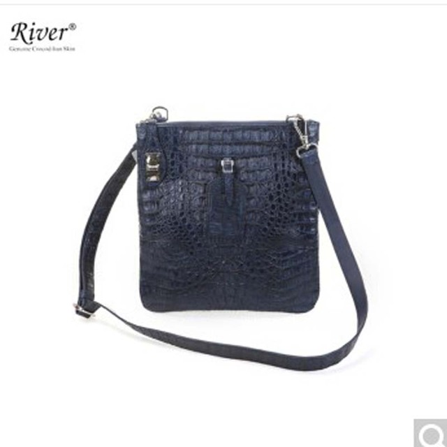 River Thailand Native Crocodile Leather Man Handbag Thai Caiman Back Skin Head Whole Navy