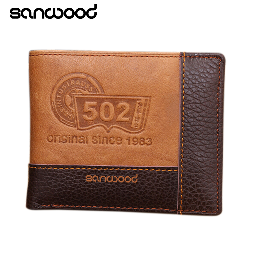 Men Coffee Full-Grain Leather Bifold Wallet Credit Card Holder Slim Coin Purse 9XRY цена