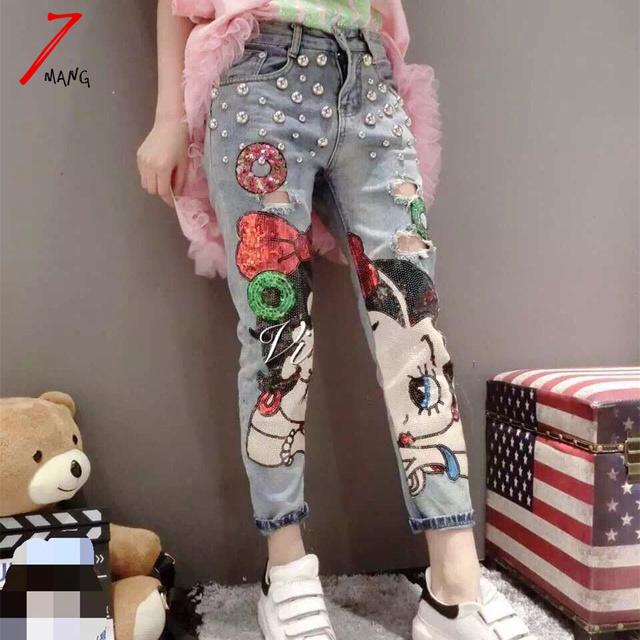 Plus size 2017 nova primavera novidade harajuku das mulheres menina dos desenhos animados pintado calça jeans lápis com furo e beading